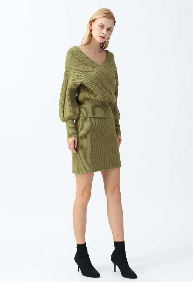 Fluffy Texture Knit Skirt in Army Green