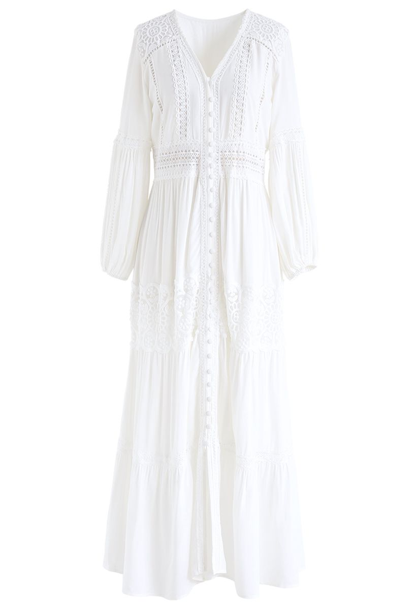 Button Down Crochet Embroidered Boho Maxi Dress in White