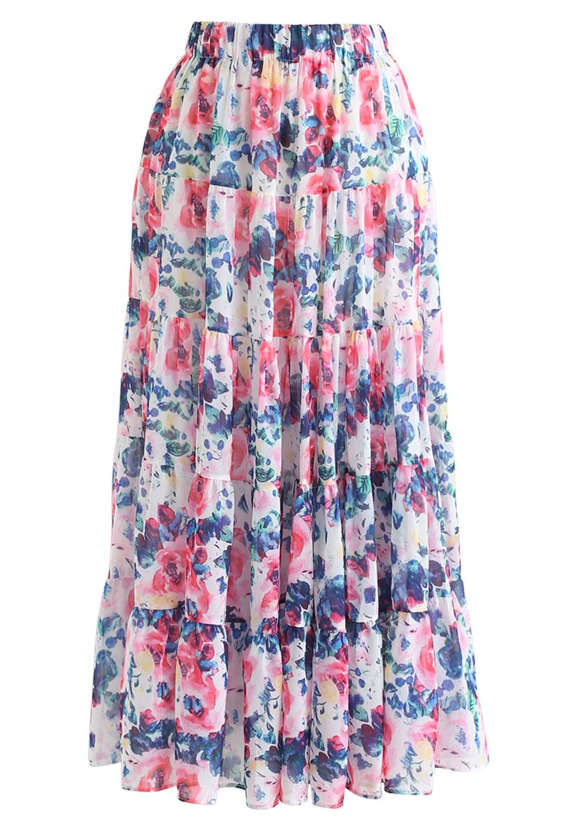 Floral Blossom Watercolor Ruffle Maxi Skirt in Pink