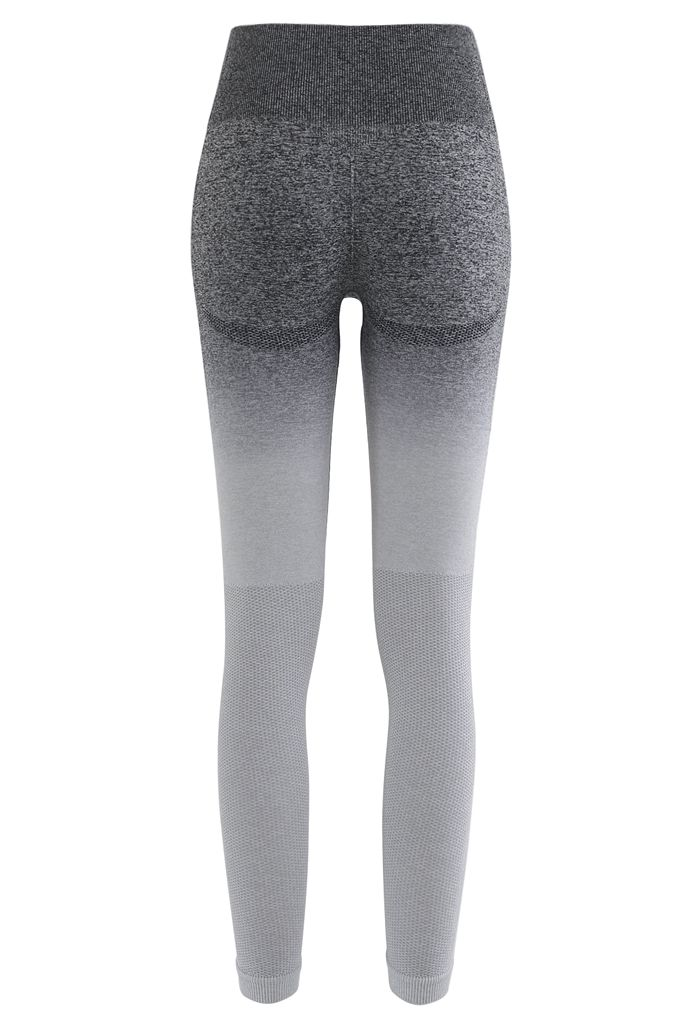 Gradient Medium-Impact Sports Bra and High-Rise Ankle-Length Leggings Set in Grey