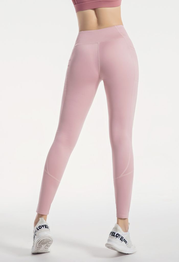 Side Pockets Seam Detail Ankle-Length Leggings in Nude Pink