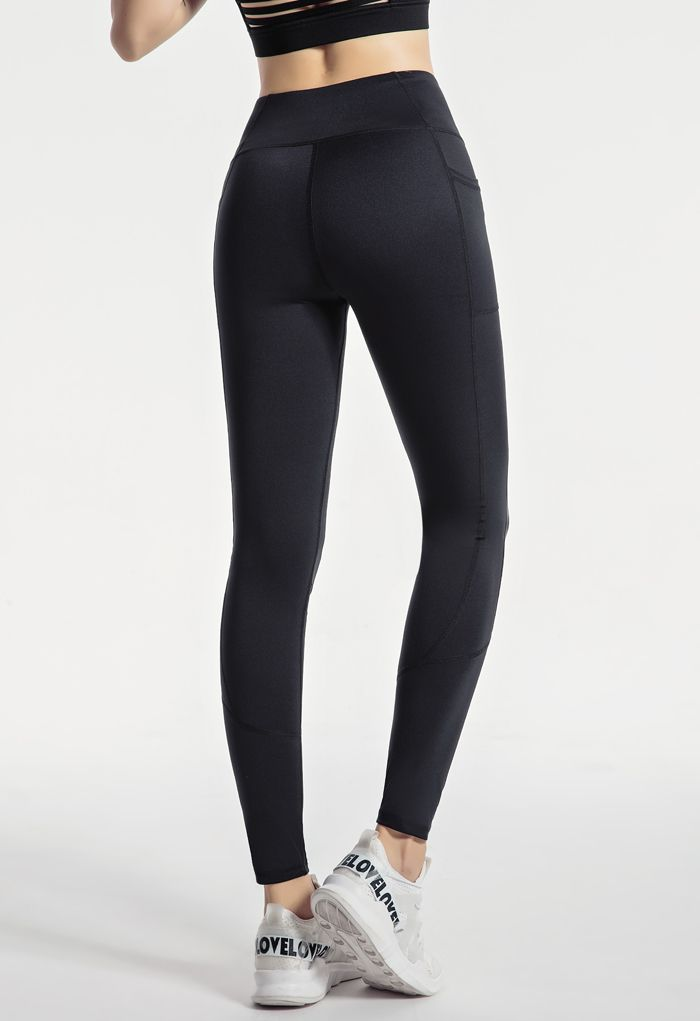 Side Pockets Seam Detail Ankle-Length Leggings in Black