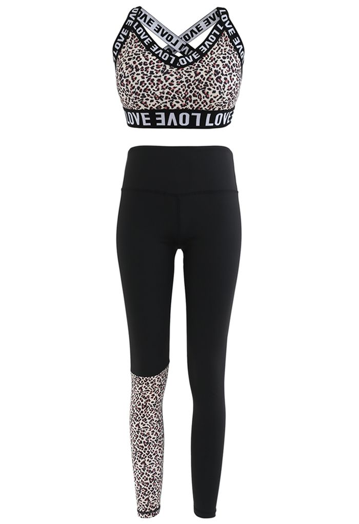 Animal Print Low-Impact Sports Bra and Ankle-Length Leggings Set