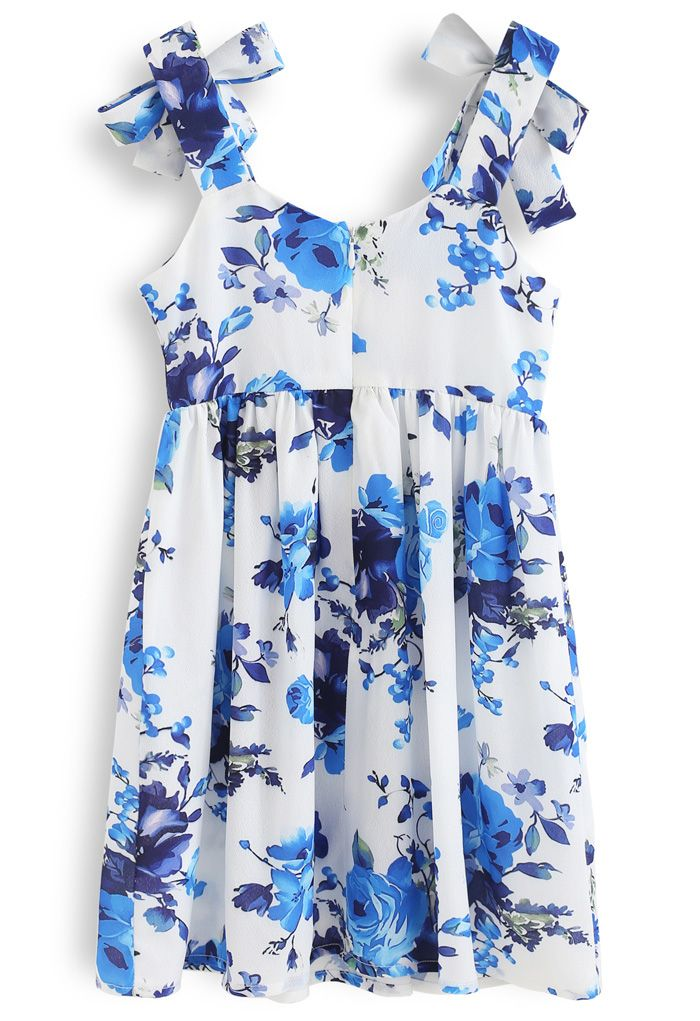 Floral Print Tie Shoulder Midi Dress for Kids