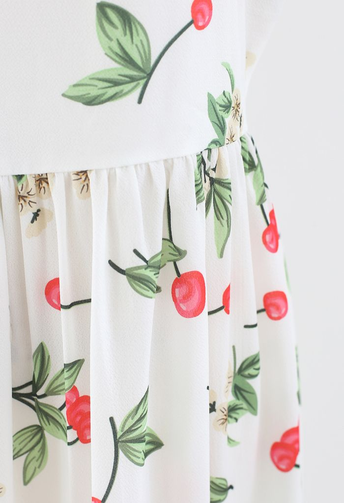 Cherry Print Tie Shoulder Midi Dress