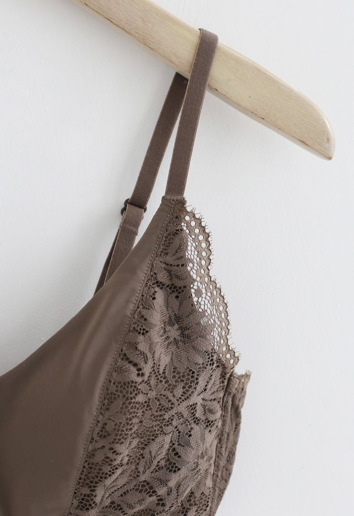 Inserted Cami Bra Top in Brown