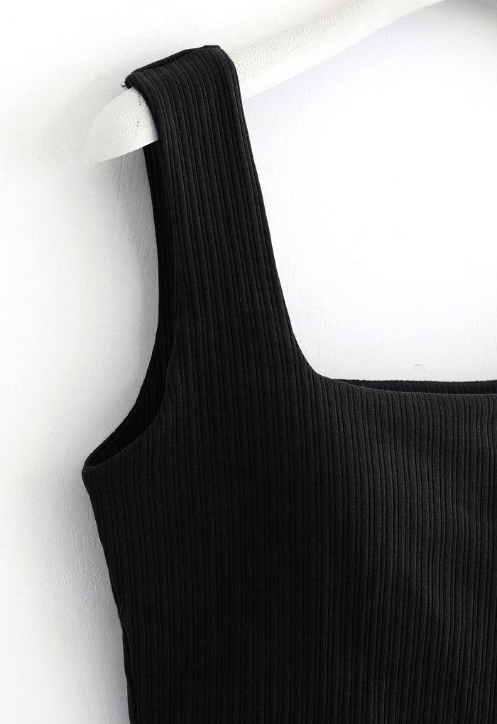 Simple Lines Bandeau Tank Top in Black
