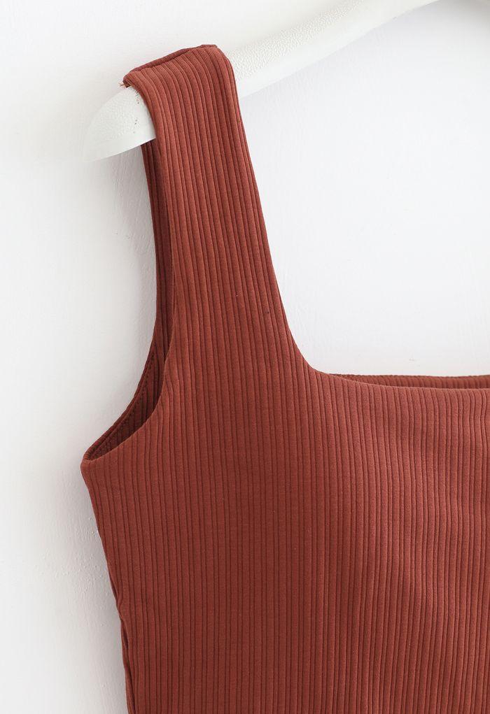 Simple Lines Bandeau Tank Top in Rust Red
