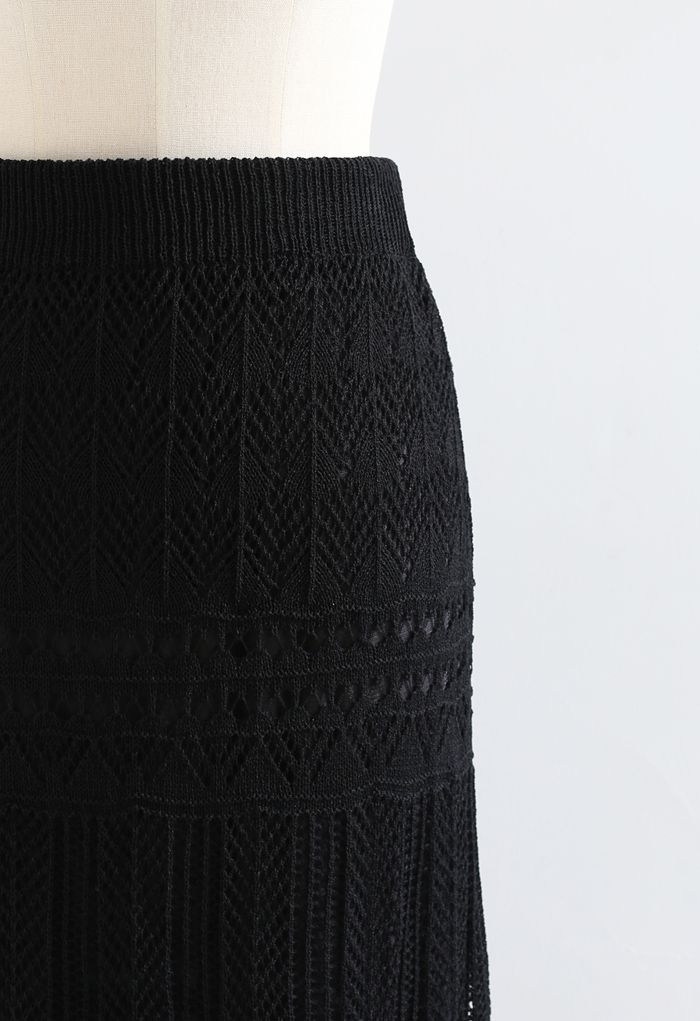 Versatile Hollow Out Knit Skirt in Black