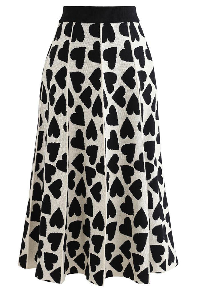 Full of Love A-Line Knit Midi Skirt in Cream
