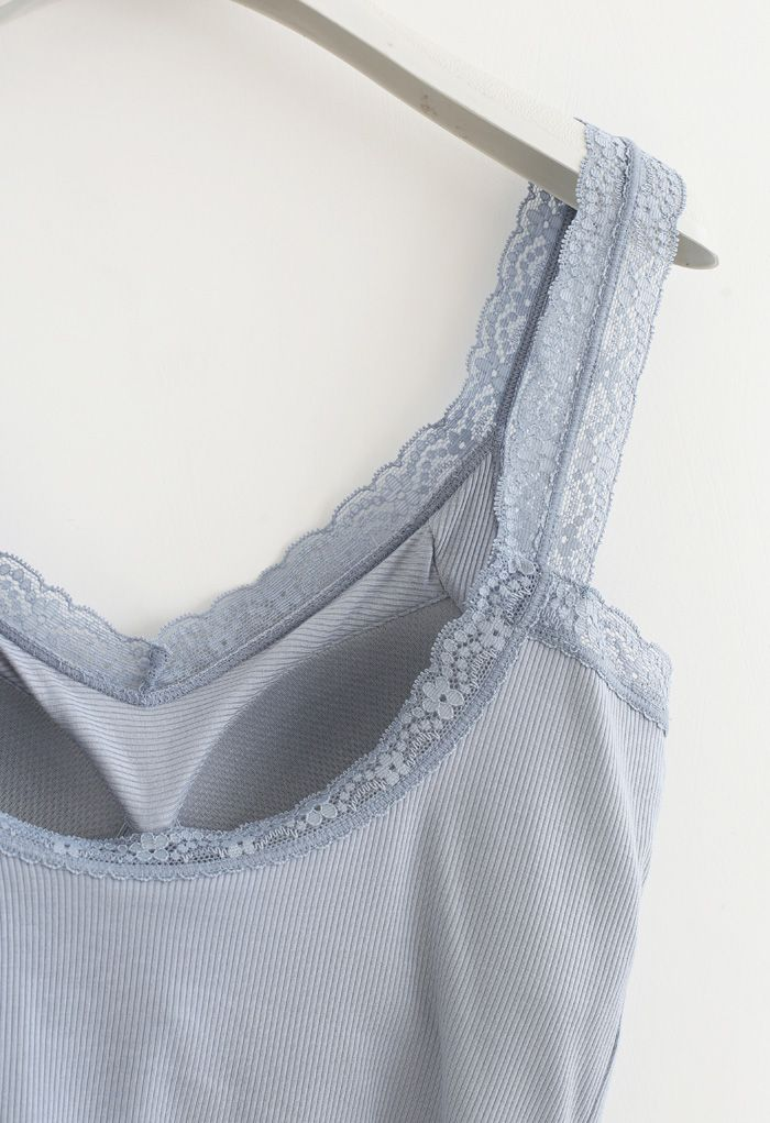 Lace Straps Tank Top in Dusty Blue