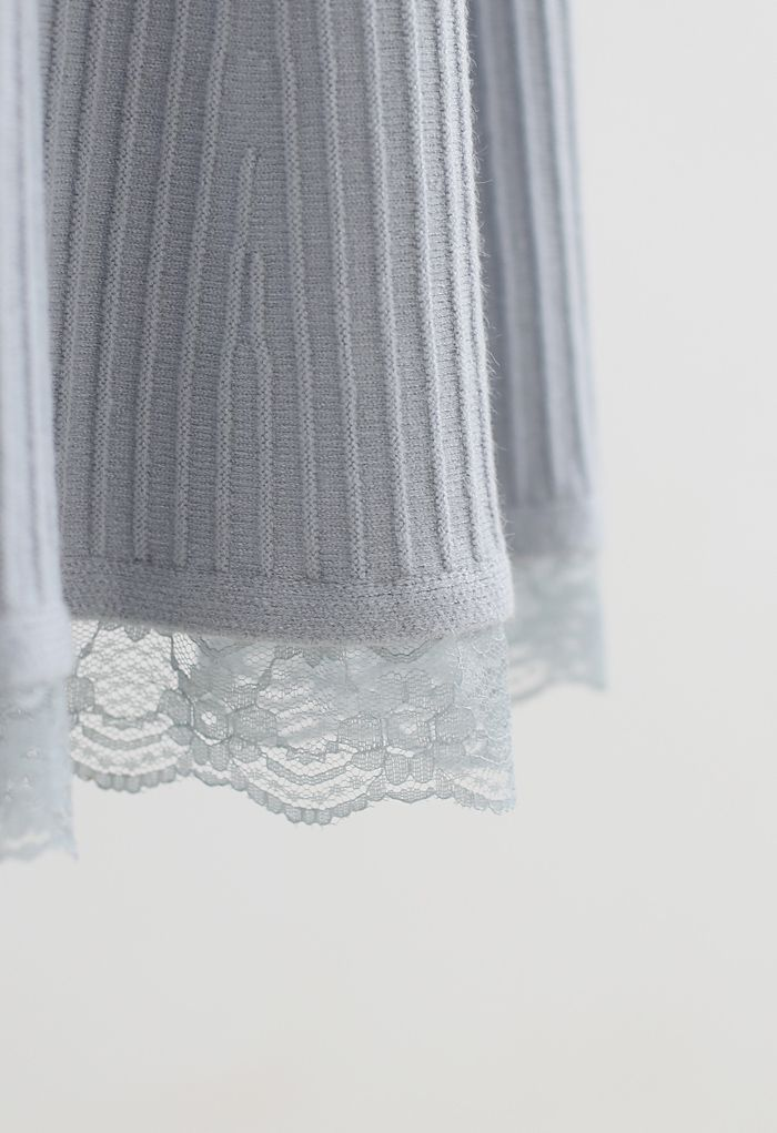 A-Line Lace Hem Knit Skirt in Dusty Blue