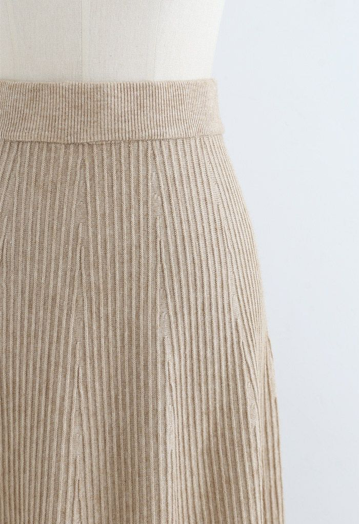A-Line Lace Hem Knit Skirt in Tan