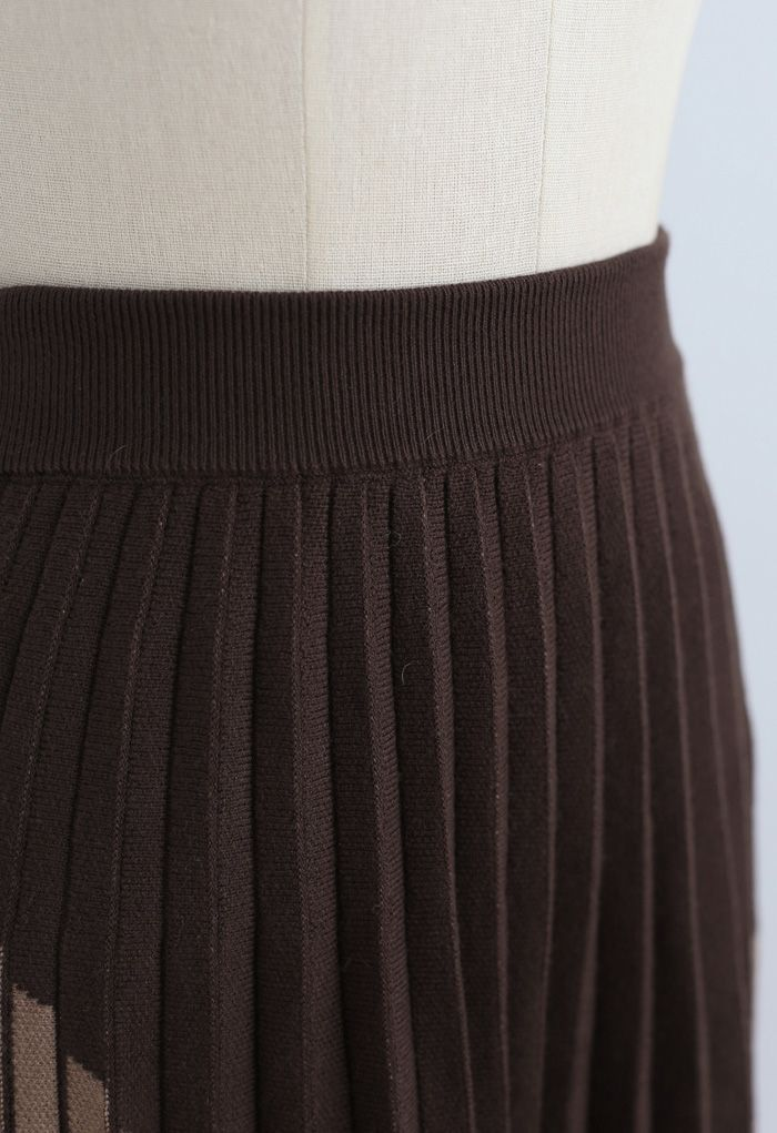 Color Blocked Pleated Knit Skirt