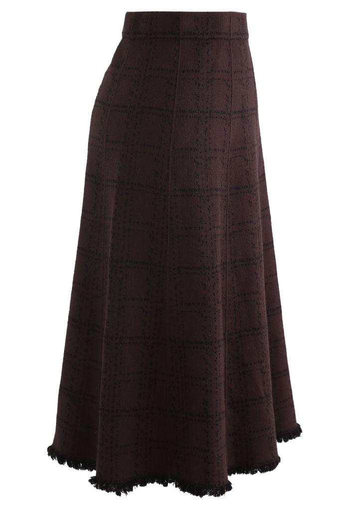 Grid Fringe Hem Knit Skirt in Brown