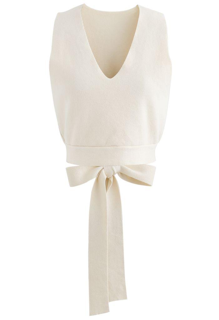 Bowknot Back V-Neck Crop Knit Vest in Cream