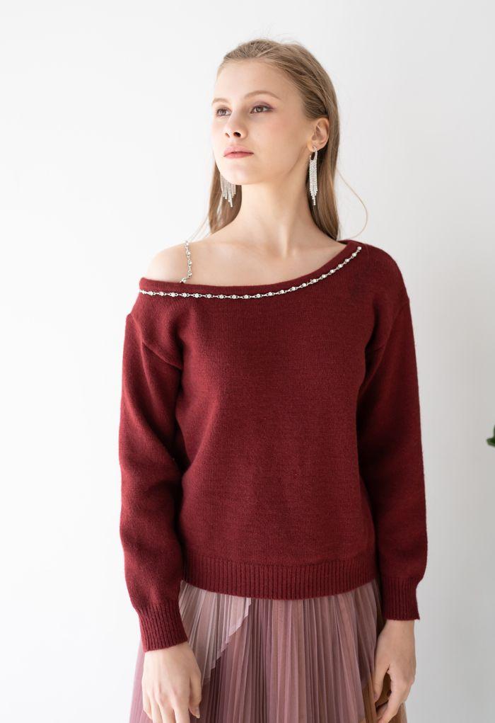 One-Shoulder Diamond Strap Knit Sweater in Wine