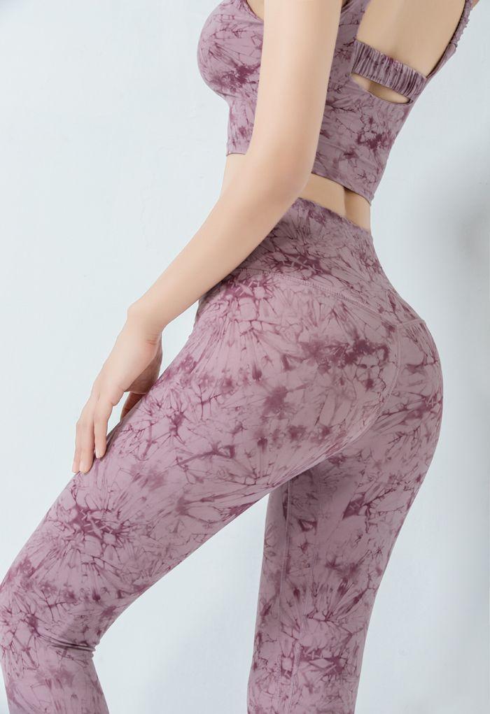 Tie-Dye Cross Waist Ankle Length Leggings in Lilac