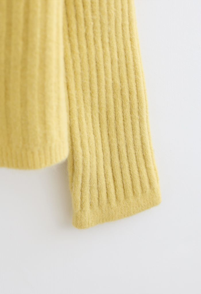Cozy V-Neck Ribbed Knit Cardigan in Yellow