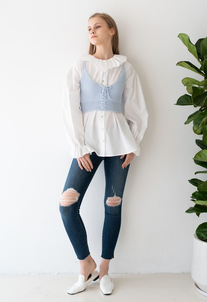 Lace-Up Crop Rib Knit Tank Top in Baby Blue