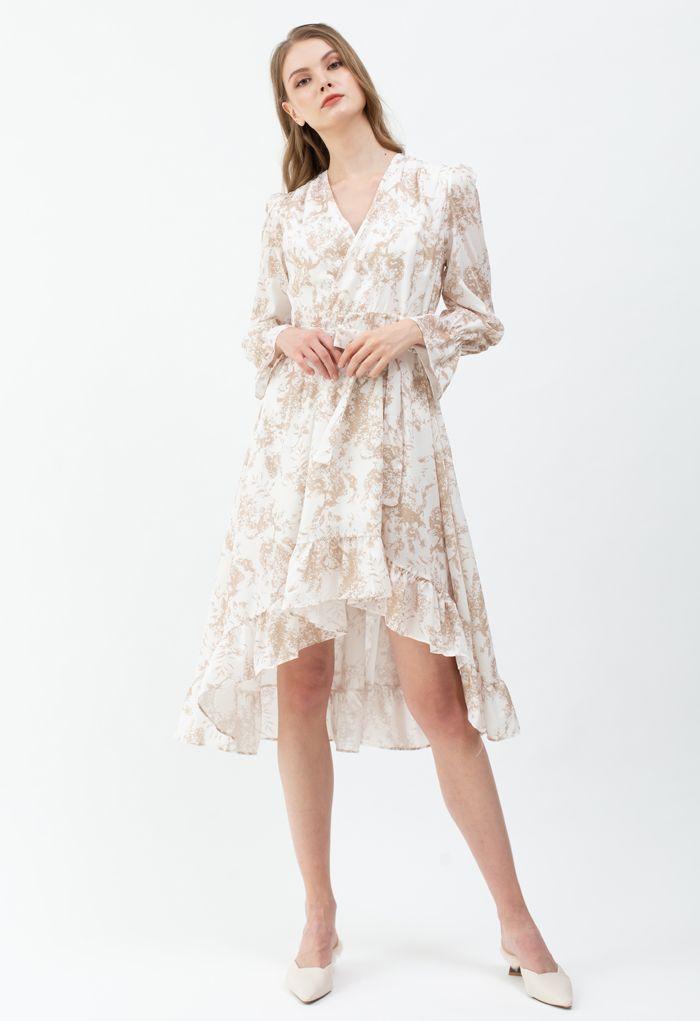Floral Wrap Bowknot Waterfall Hem Dress in Sand
