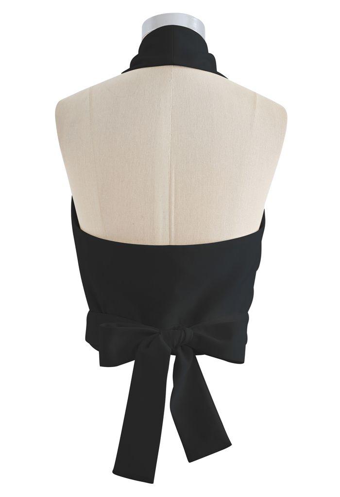 Tie Waist Halter Crop Top in Black