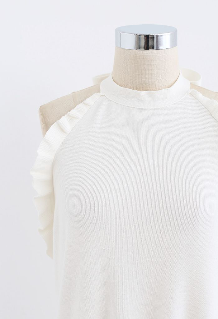 Halter Neck Ruffle Edge Knit Top in White