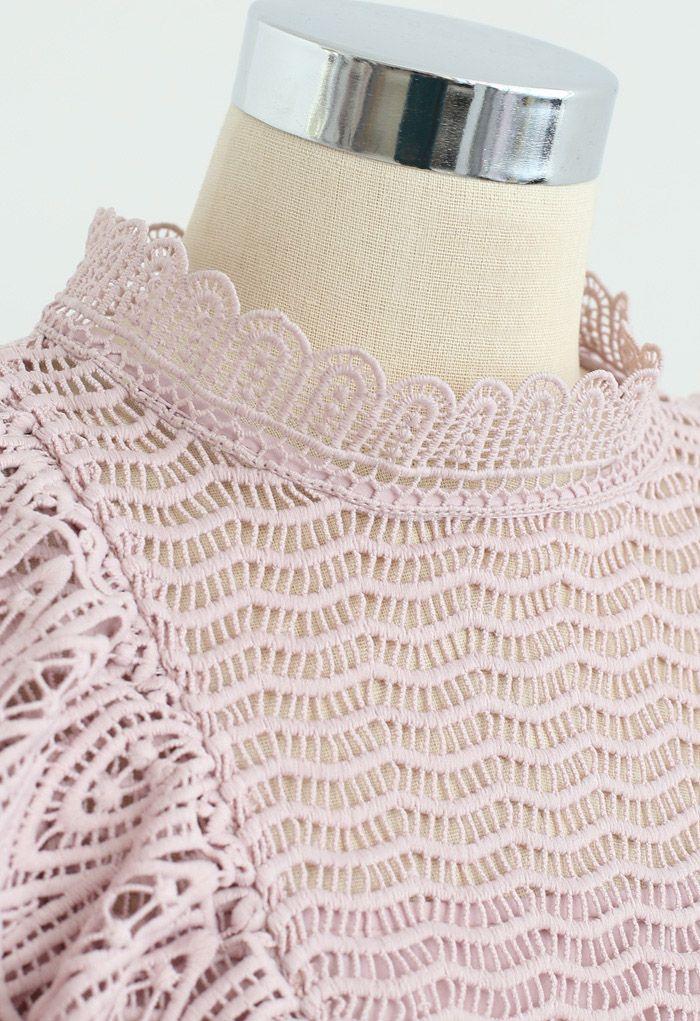 Tiered Ruffle Crochet Mock Neck Sleeveless Top in Pink