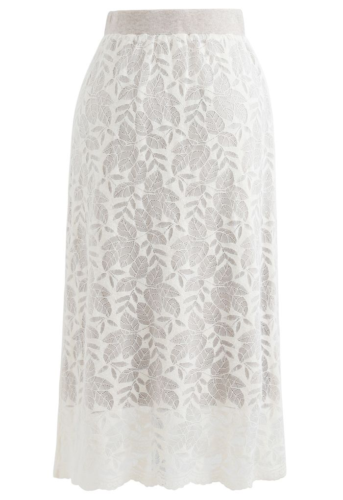Leaves Pattern Button Lace Knit Midi Skirt in Cream