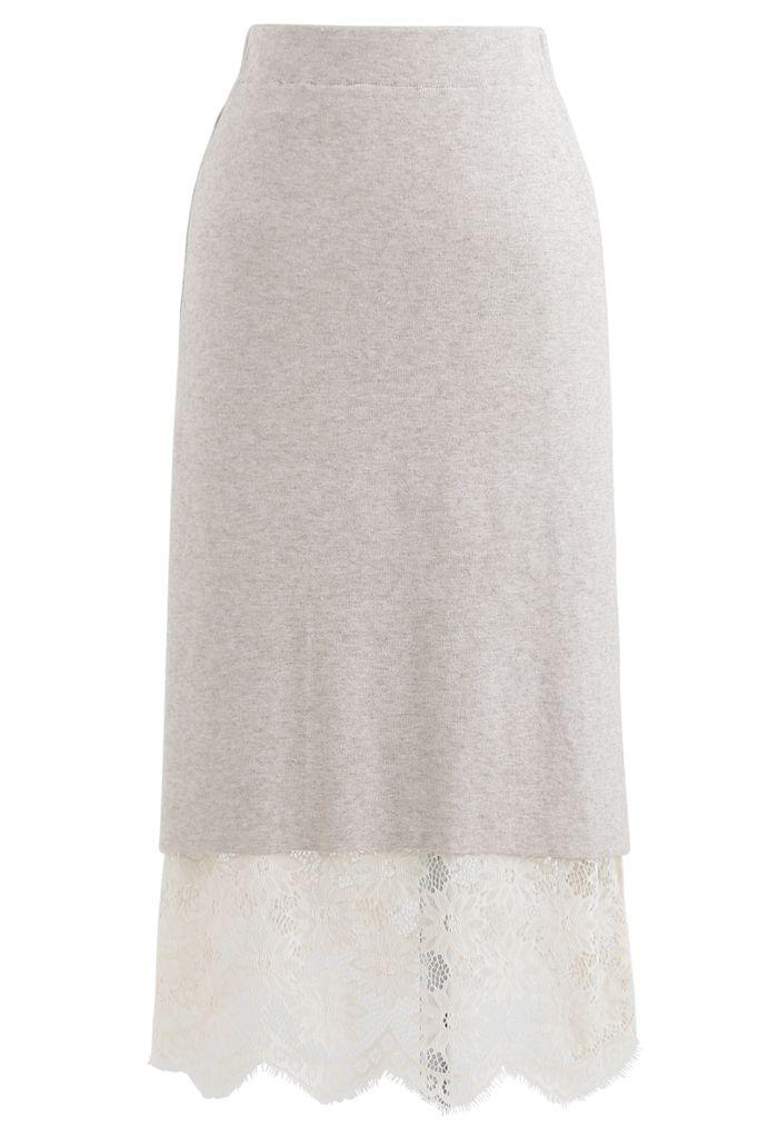 Pocket Trims Floral Lace Knit Midi Skirt