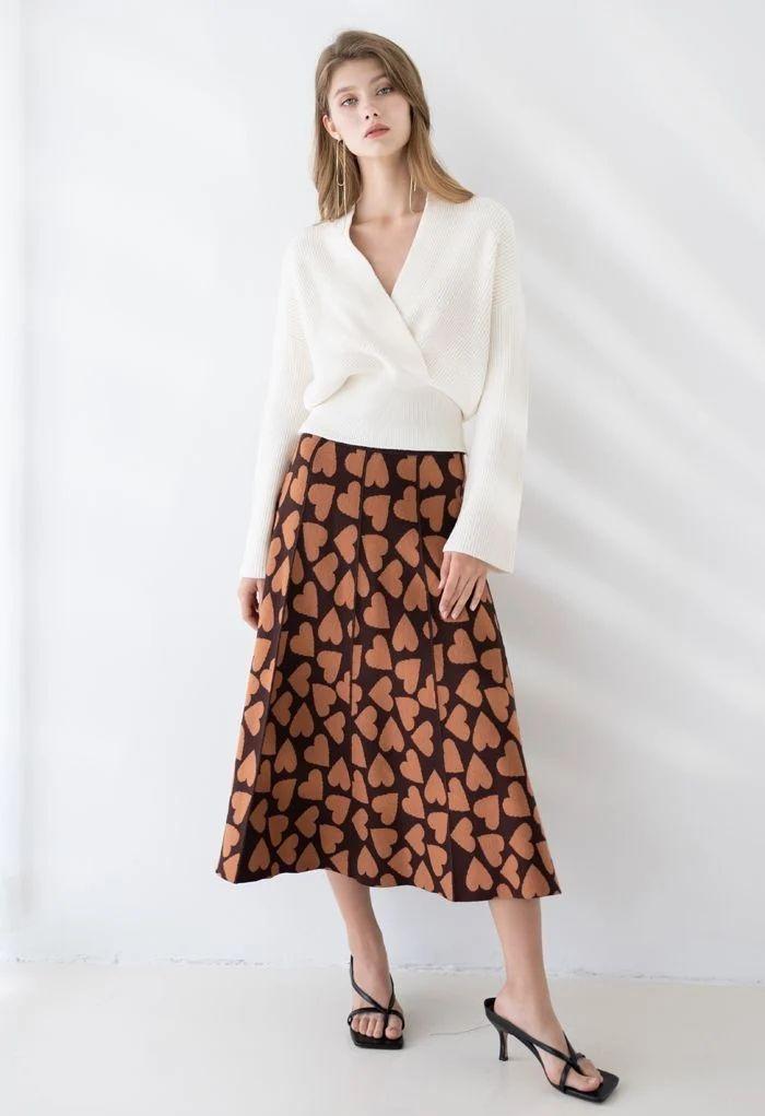 Full of Love A-Line Knit Midi Skirt in Brown