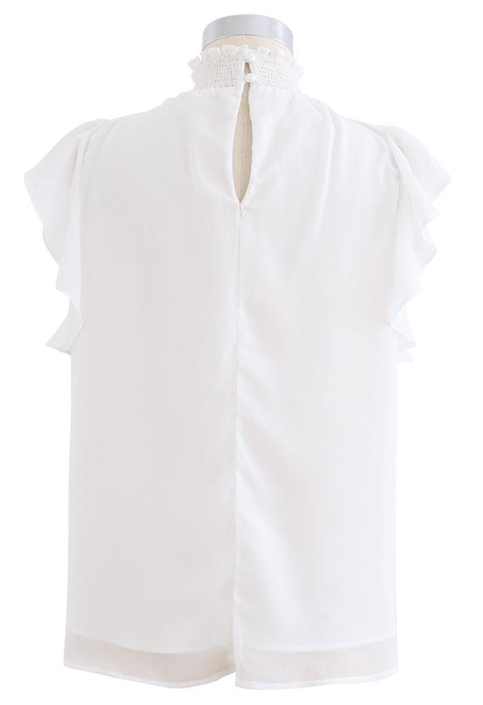 Shirred Mock Neck Ruffle Sleeveless Top in White