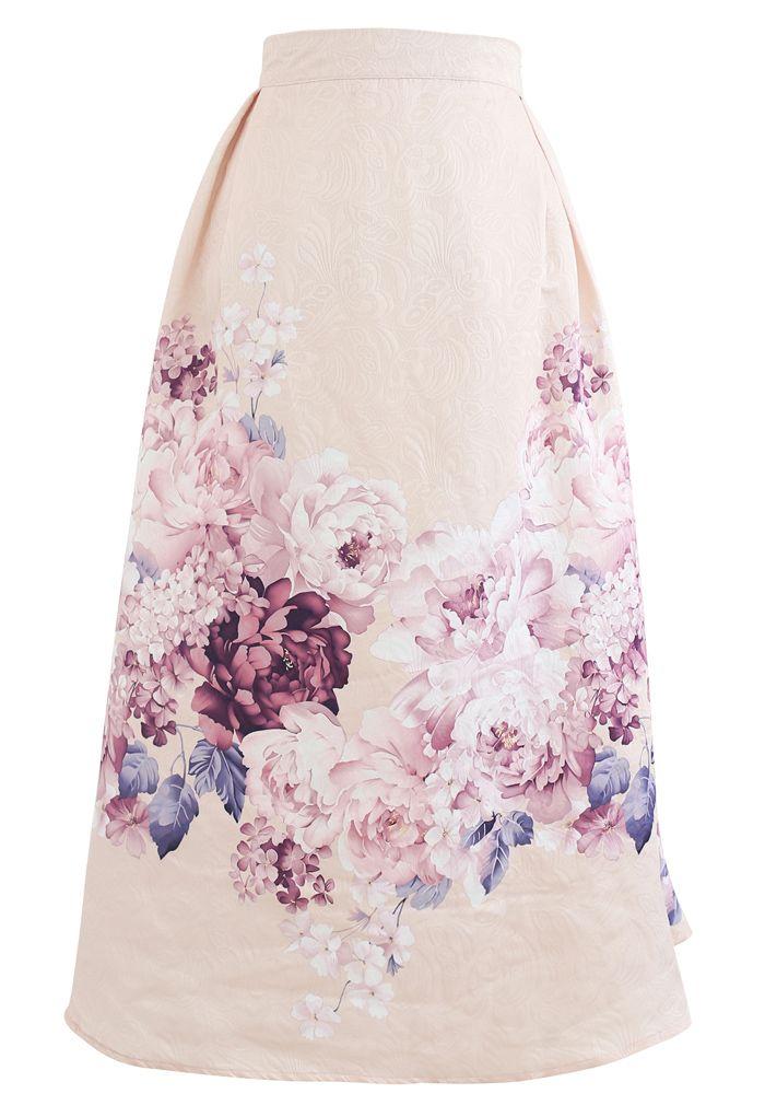 Lavender Peony Print Embossed Midi Skirt