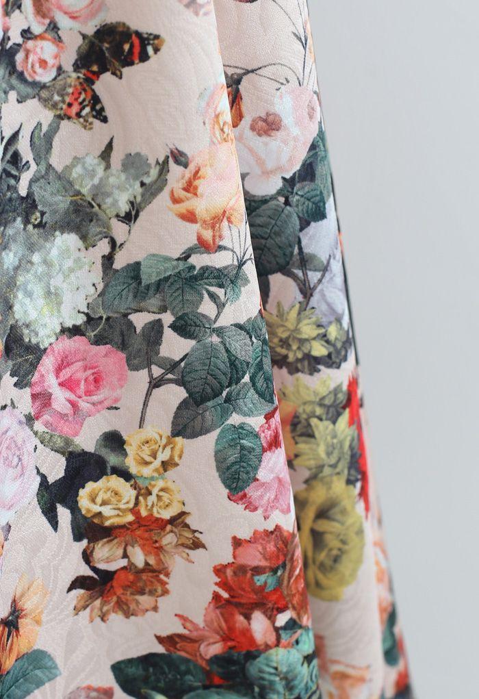 Wild Rose Print Embossed Midi Skirt