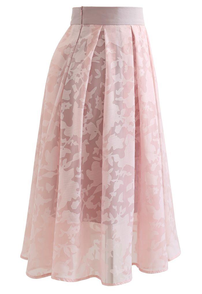 Flower Shadow Organza Pleated Skirt in Pink