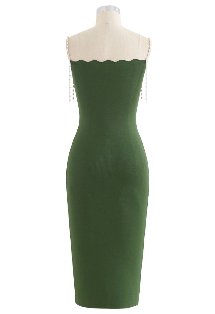 Pearl Straps Bodycon Knit Cami Dress in Green