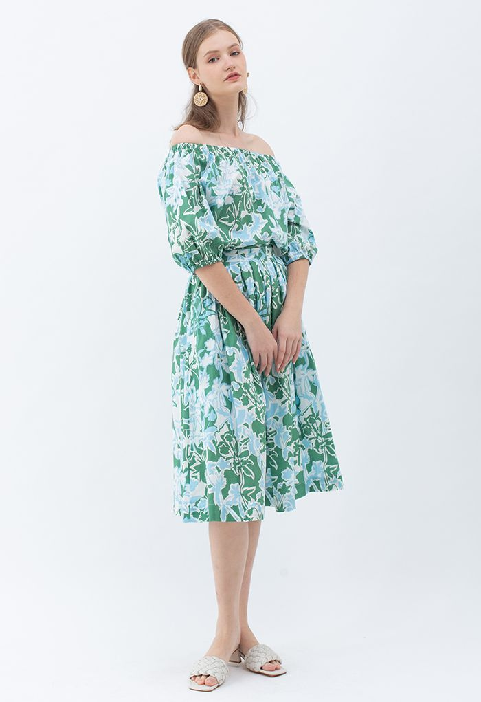 Summer Floral Print Pleated Midi Skirt in Green