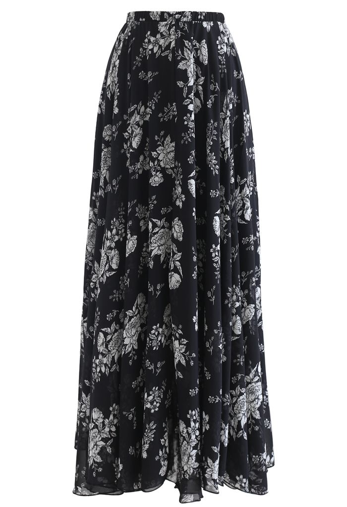 Sketch Peony Chiffon Maxi Skirt in Black