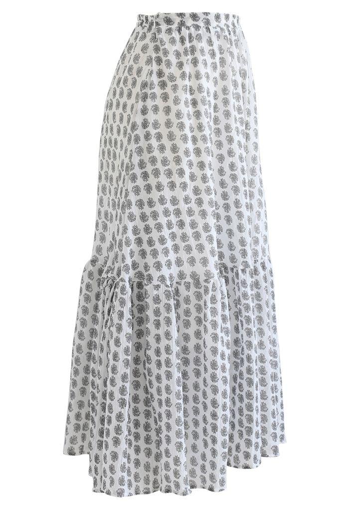 Tender Floral Frill Hem Maxi Skirt in Black