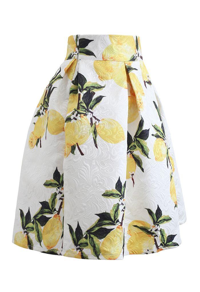 Lemon Tree Jacquard Pleated Skirt