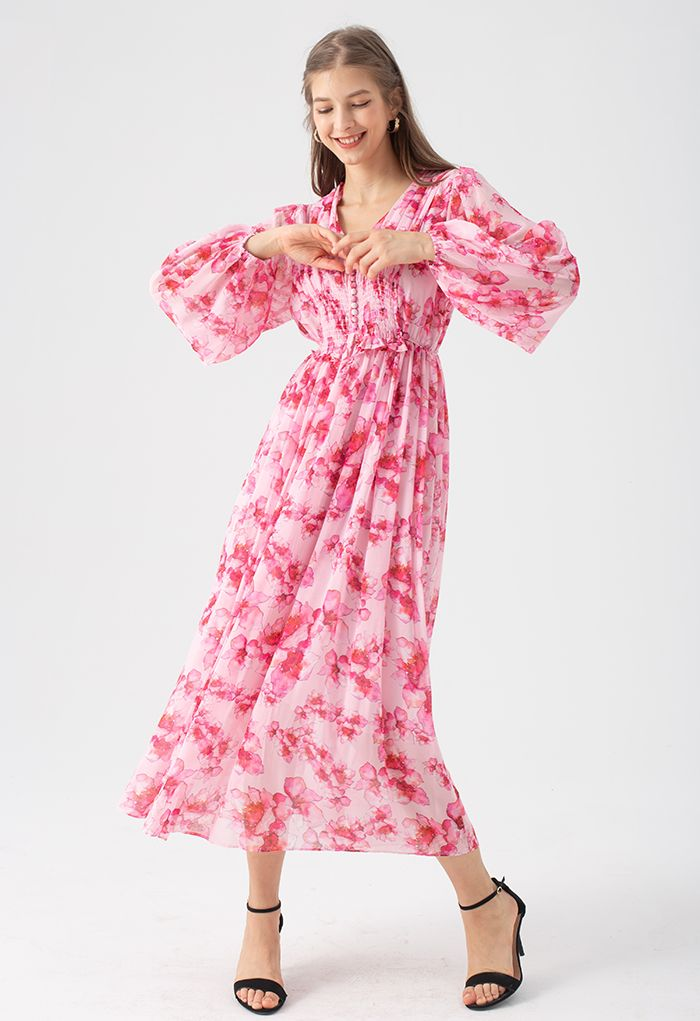 Delicate Floral Shirred Maxi Dress in Hot Pink