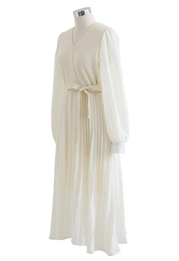 Knit Spliced Self-Tie Pleated Wrap Midi Dress in Cream