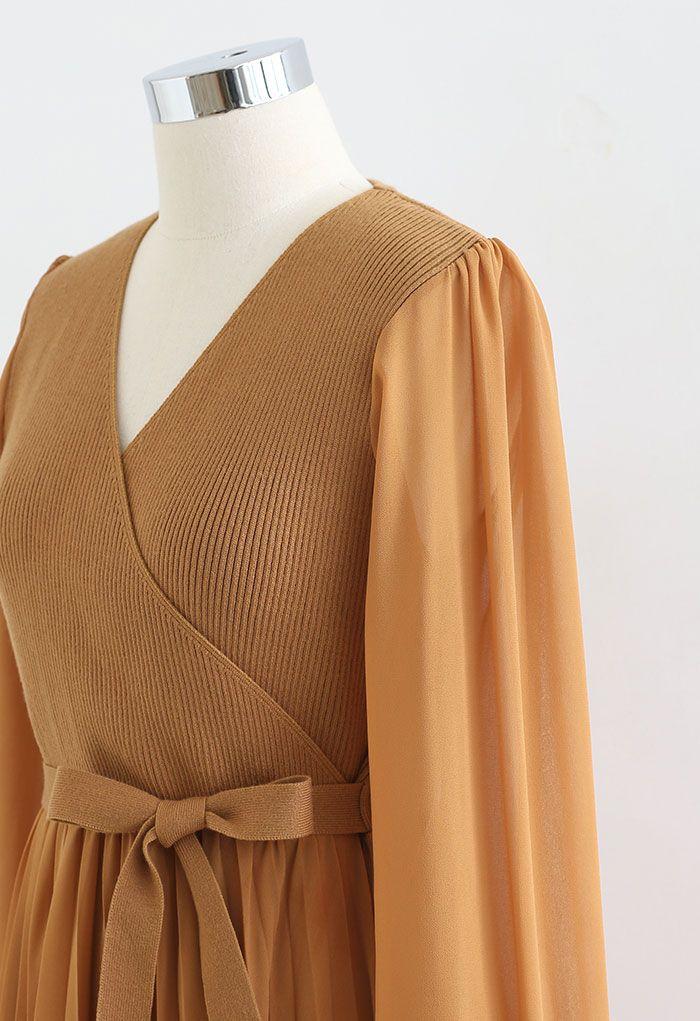 Knit Spliced Self-Tie Pleated Wrap Midi Dress in Caramel