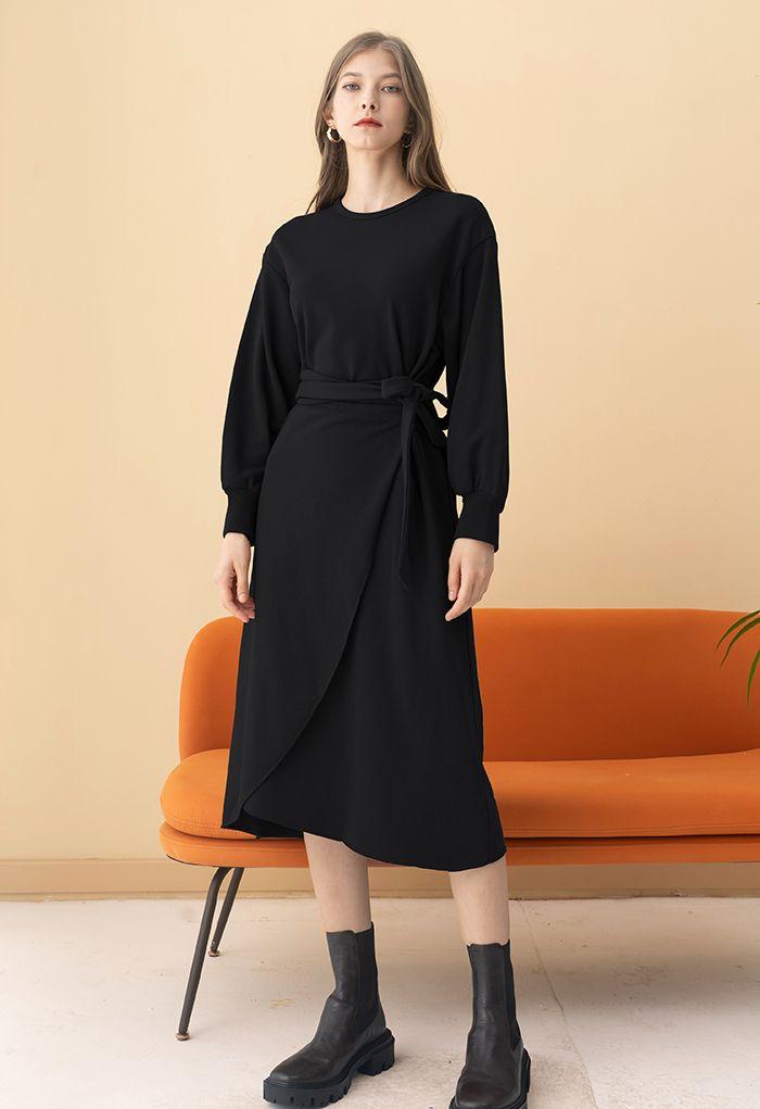 Self-Tie Flap Front Midi Dress in Black