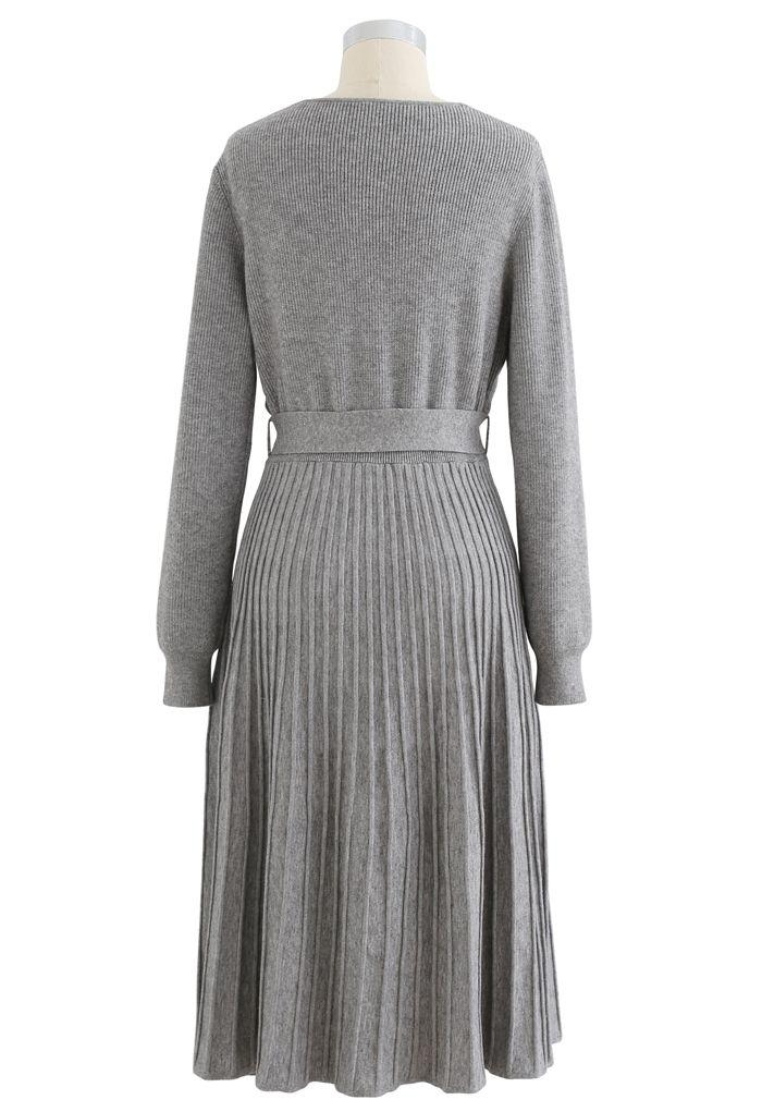 Belted Wrap Rib Knit Midi Dress in Grey