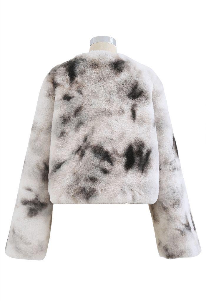 Cozy Tie Dye Faux Fur Crop Jacket
