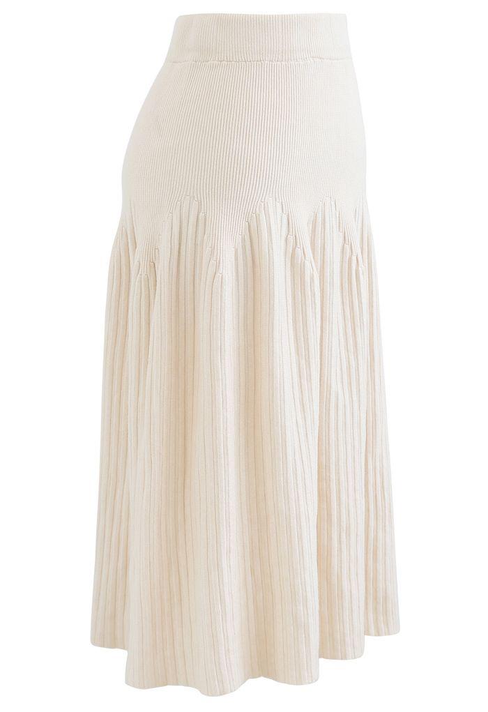 Radiant Lines Knit Midi Skirt in Cream