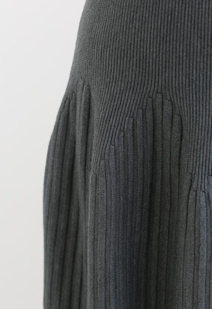Radiant Lines Knit Midi Skirt in Grey