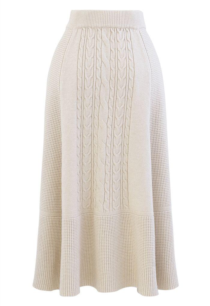 Braid Texture Soft Knit A-Line Midi Skirt in Cream