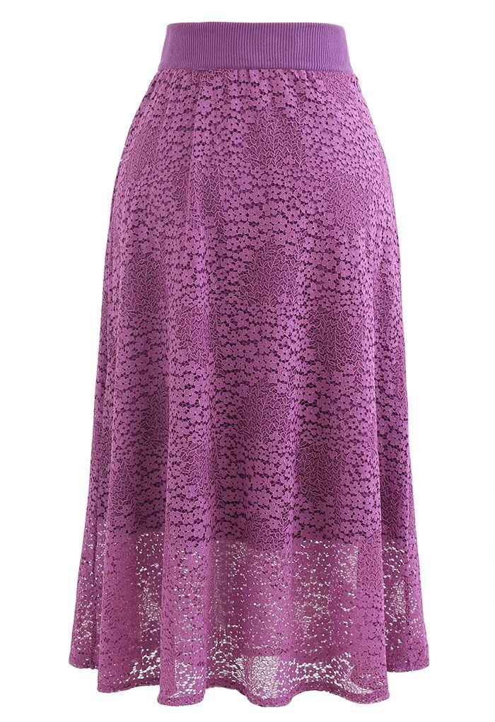Floret Lace Knit Reversible Midi Skirt in Magenta